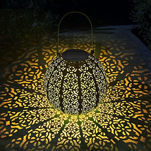 Solarlaterne für Außen, MUSUNIA LED Metall Solarlampen für Außen Hängend, Gartendeko Solar Gartenlaterne, | 22 x 22 cm |- Hellblau