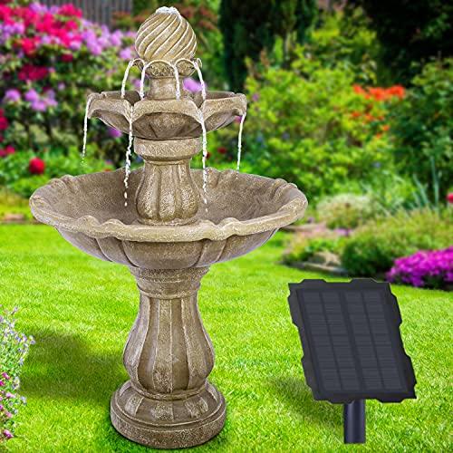 Solar Gartenbrunnen Brunnen Zierbrunnen Zimmerbrunnen Springbrunnen Brunnen mit LED-Licht und Li-Ion-Akku Wasserfall Wasserspiel für Garten, Gartenteich, Terrasse