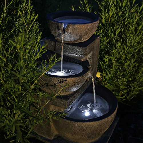 CLGarden Solar Springbrunnen NSP12 mit Akku und LED Beleuchtung für Garten Terrasse Balkon