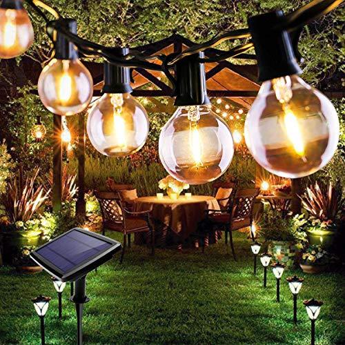 Lichterkette Außen, FOCHEA Lichterkette Glühbirnen 7.6m 25er LED Solar Lichterkette Außen Globe Birnen Lichterkette Garten 4 Modi für Hochzeit Patio Party Aussen Warmweiß