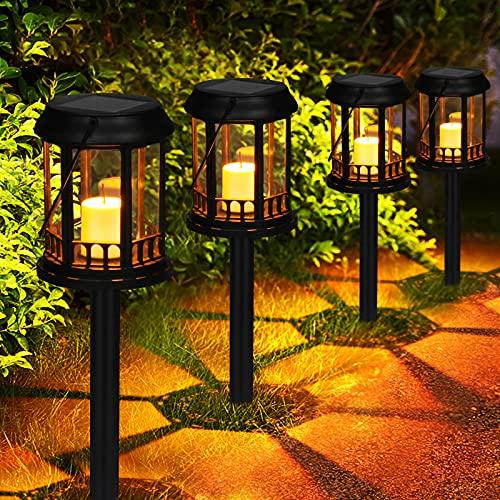 Solarlaternen Außen GolWof 4 Stk Wasserdicht Energiesparend Solarlampen für Außen Garten Warme Gelbe Flackernde Kerze Hängende Solarleuchten Garten Deco für Gehweg Terrasse Garten Rasen (Schwarz)