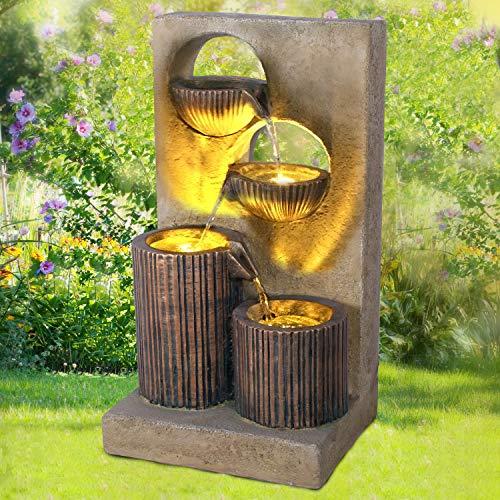 Gartenbrunnen Brunnen Zierbrunnen Zimmerbrunnen Springbrunnen Brunnen Wasserfall Wasserspiel für Garten (Aqua-Melody mit LED-Licht - 230V)
