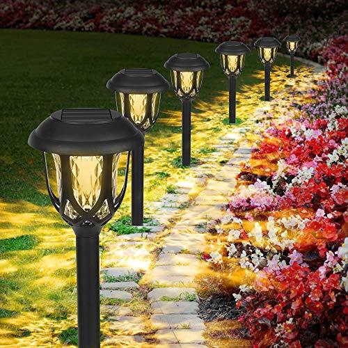 Molbory Solarleuchten Garten Warmweiß, 6 Stück wasserdichte Solar Gartenleuchte, LED Außenleuchte Solarlampen, Solar Wegeleuchte Dekorative Licht für Außen Garten Patio Rasen Terrasse Fahrstraßen
