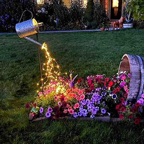 Huhu833 Lichterkette Gartenlichter Deko, Garten Gießkanne Lichter, LED Wasserfall Form Twinkle Lichterketten, Stern Typ Dusche Garten Kunst Licht Dekoration Gartenarbeit Rasenlampe (Gelb)
