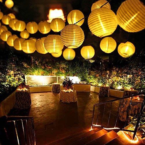 Qedertek Solar Lichterkette Lampion Außen 6 Meter 30 LED Laternen 2 Modi Wasserdicht Solar Beleuchtung für...