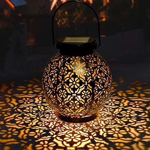 Solar Laterne für Draußen GolWof LED Garten Hängende Gartenlaterne Laternen Dekorative - Schwarze