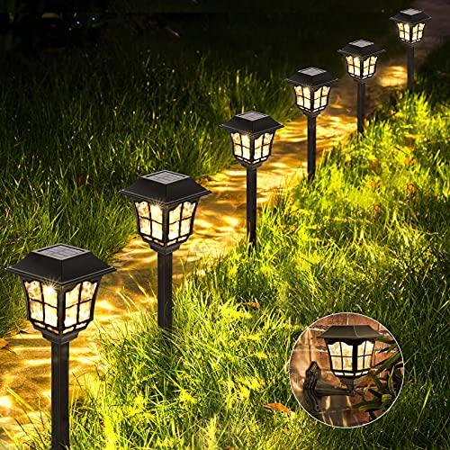 Solar gartenleuchte LUNSY Solarlampen für außen Solar Wandleuchte mit IP65 wasserdicht Warmweiß Solarlampe Dekorative Licht für außen, Gärten, Wege, Rasenflächen, Stufen, Mauern -6 Stück