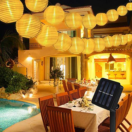 Nasharia Solar Lichterkette Außen Lampions,8 Meter 40 LED 2 Modi Warmweiß Laterne IP65 Wasserdicht Solar...