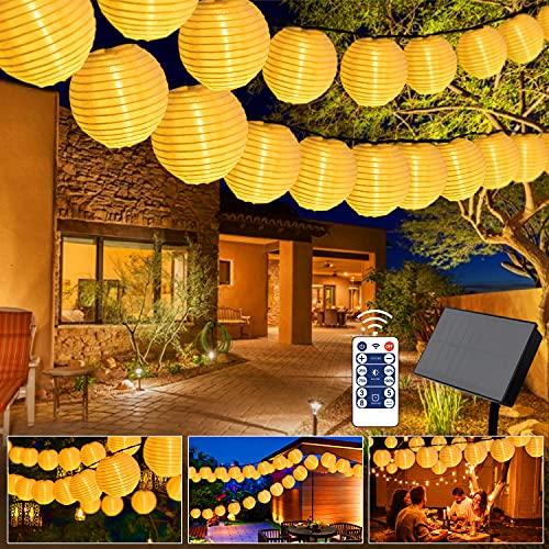 Greatever Solar Lichterkette, 10M 40er LED Lampion Lichterkette 8 Modi LED Lampion IP65 Wasserdicht Solar Lichterkette Außen Beleuchtung für Garten, Party, Hochzeit, Fest Deko (Warmweiß 2)
