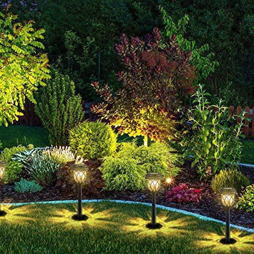 6st. Solarleuchten Garten Solarlampen für Außen Wasserdicht Warmweiß Wegeleuchte Solar Gartenleuchte Deko LED Lichter für Wege Ausfahrt Terrasse Teich