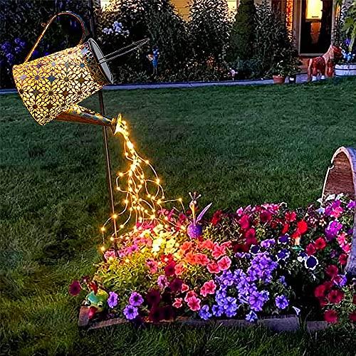 Solar Gießkanne, Solarlampe Gießkanne Wasserfall für Außen mit Lichterkette Aussen, Metall Vintage Solarleuchten Gartendeko mit Schäferhaken für Garten Balkon Tisch