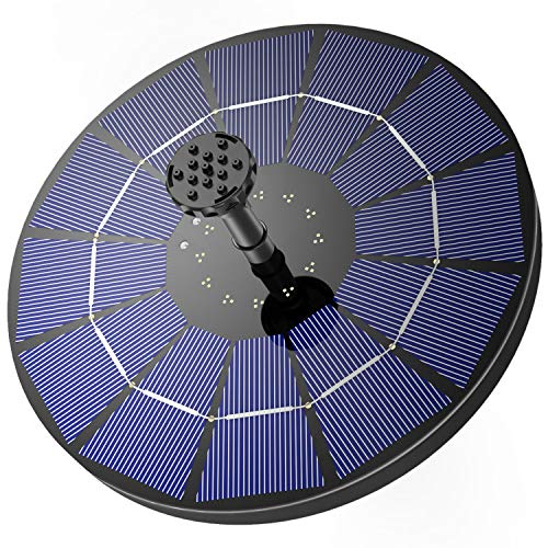 AISITIN Solar Springbrunnen mit 3.5W Solar Panel Eingebaut 1500mAh Akku Solar Teichpumpe Garten Wasserpumpe...