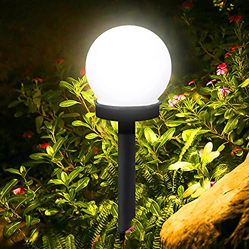 wangpu Solarleuchten für den Außenbereich, Dekoration, LED-Gartenleuchten, Landschaft/Wegeleuchten für Wege, Terrasse, Hof – weiße Glühbirne – 6 Stück