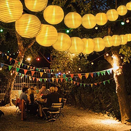 Solar Lichterkette Außen Lampions, FOCHEA Lichterkette Außen 6.3 m 30 LED 8 Modi Wasserdicht Solar Lichterketten mit Fernbedienung und 3 Ersatzlaternen für Aussen,Garten, Party