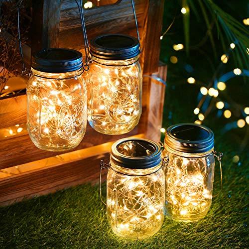 Solarlampen für außen,4Stück 30 LED Lichterkette im Glas Laterne Warmweiß, Wasserdichte Solarlaterne Dekoration für Garten Party Balkon