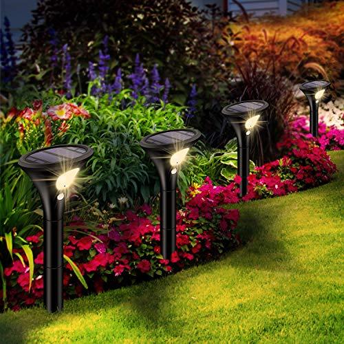 Leolee Solarlampen für Außen, [4 Stück] Solarleuchten Garten Warmweiß LED Solar Strahler 2 Modi mit...