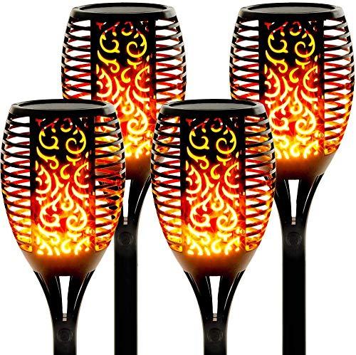Solarlampen für Außen 4 Stück Flammenlicht Gartenfackeln IP65 Wasserdicht Solar Flamme Fackeln Lichter...