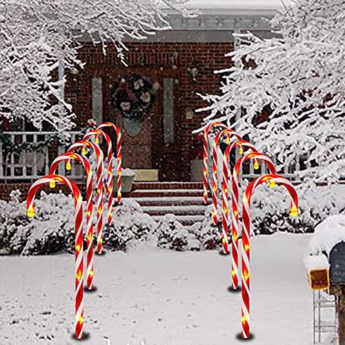 5 Stück Weihnachten Zuckerstangen Lichterketten,Solar LED Zuckerstangen Gartenstäbe Zuckerstange,Weihnachtsweg Marker LED Rot Weiss für Garten Dekoration,Weihnachtsbeleuchtung Deko Außen