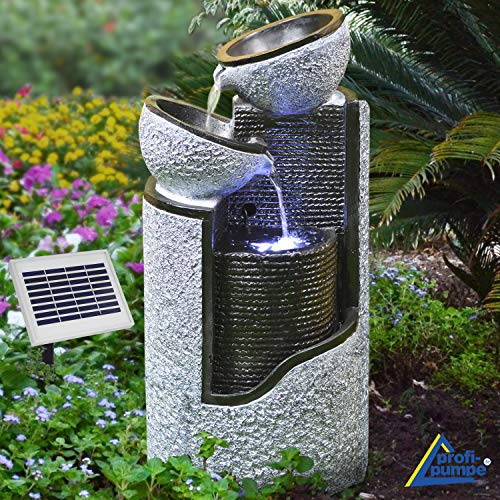 AMUR Solar Gartenbrunnen Brunnen Solarbrunnen Zierbrunnen Vogelbad Wasserfall Gartenleuchte Teichpumpe - Springbrunnen Wasserspiel für Garten, Gartenteich, Terrasse, Teich, Balkon, sehr Dekorativ
