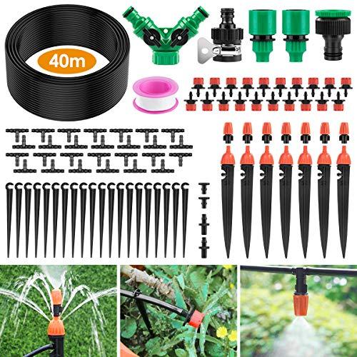 Ehomfy Automatisches Bewässerungssystem, 40 m Gartenbewässerungssystem, Mikro-Tropfbewässerungsset mit einstellbarer Düse, Nebelkühlungs-Bewässerungssystem für Gartengewächshaus, Blumenbeete, Terrasse