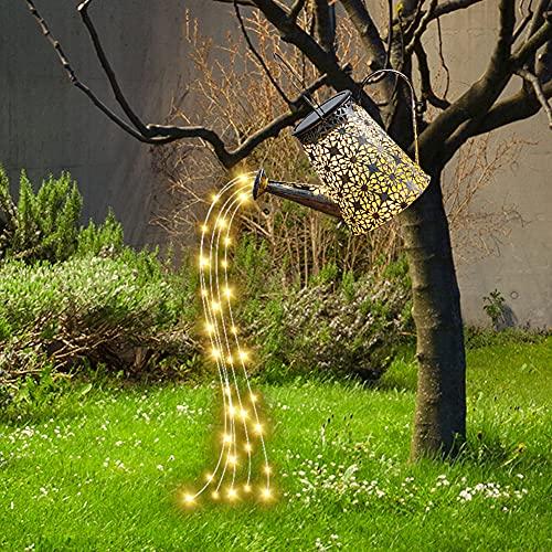 2021 neue Wasserfall Form Solar Gießkanne Solarlampen IP65 Wasserdicht Twinkle Lichterketten Star Shower Garden Art LED-Licht für Outdoor Garten Party Hochzeit Weihnachtsbaum Rebe