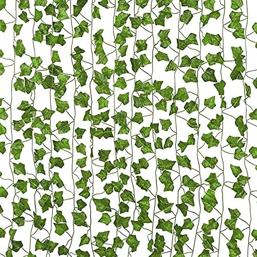EINFEBEN Efeu Künstlich Girlande 12 Stück Efeu Hängend Girlande 2.4M Efeugirlande Künstlich 80 Blätter Girlande mit 50 Grüne Kabelbinder für Room,Büro,Küche,Garten,Party Wanddekoration