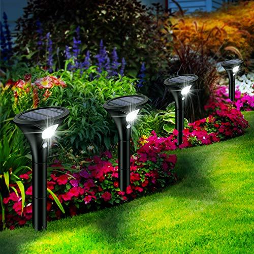 Leolee Solarlampen für Außen, [4 Stück] Solarleuchten Garten Sehr Hell LED Solar Strahler 2 Modi mit...