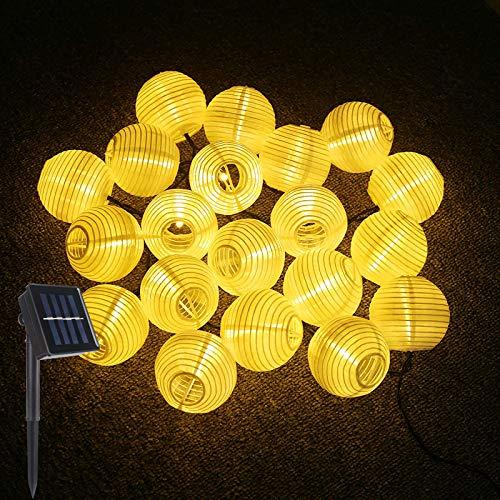 LED Solar Lichterkette Lampions, ALED LIGHT IP65 Wasserdicht 5 Meter 20er LED Lampions Laterne Lichterkette Garten Innen und Außenbereich für Party Weihnachten (Warmweiß)