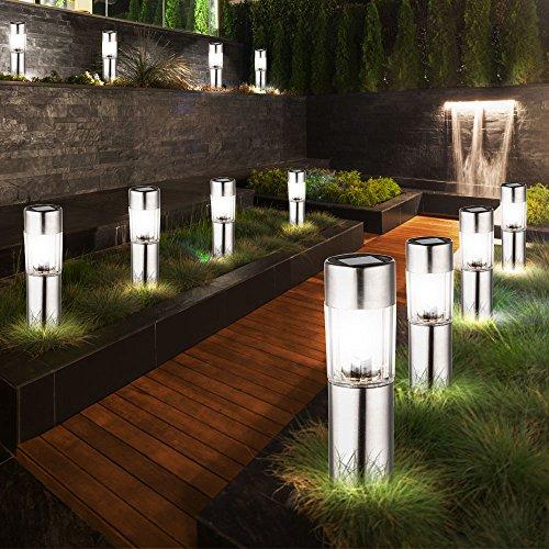 12 LED Edelstahl Solar Leuchten Steck Leuchten Erdspieß Außen Beleuchtung Akku
