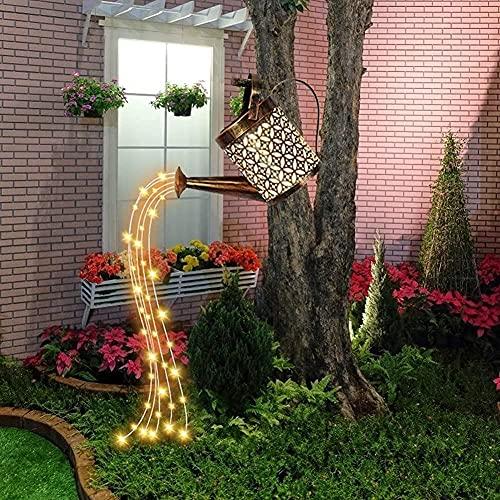 LIUDADA Gießkanne Lichterketten Garten Gießkanne Lichter Garten LED Licht Solarleuchte Wasserfall Kunst Licht für Außen Terrasse Balkon Hof Garten Weg(Mit Ständer)