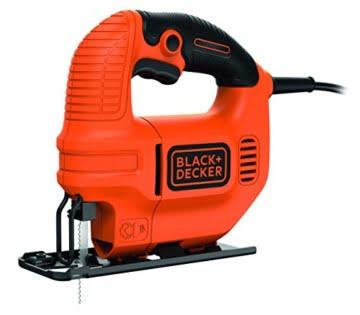 Black + Decker 400W Kompakt-Stichsäge, Späne-Blasfunktion, ergonomisches Design, Feststellschalter, KS501 -