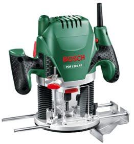 Bosch DIY Oberfräse POF 1200 AE, Nutfräser, Absaugadapter, Gabelschlüssel, Kopierhülse, Parallelanschlag, 3 Spannzangen, Zentrierstift (1.200 W,max. 28.000 1/min, Nutfräser-Ø 8 mm) -