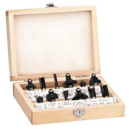 Einhell Fräser Set passend für Elektro Oberfräsen (12-teilig, Lieferung im Holzkoffer) -